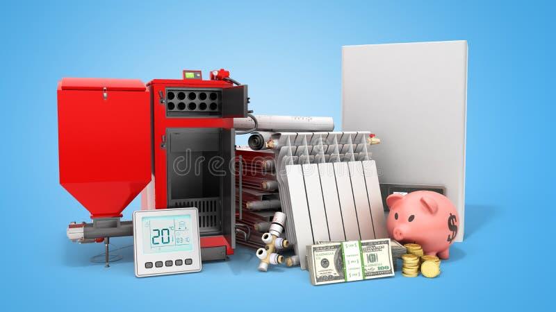 Aquecimento moderno do conceito que salvar a bateria da caldeira do combustível contínuo elétrica ilustração stock