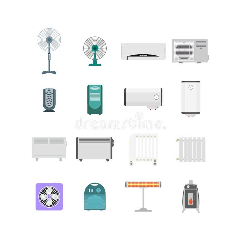 Aquecimento, ventilação e dispositivos de acondicionamento ajustados Vetor ilustração do vetor