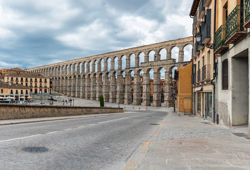 aquedotto antico a Segovia, Castiglia y Leon, Spagna immagini stock libere da diritti