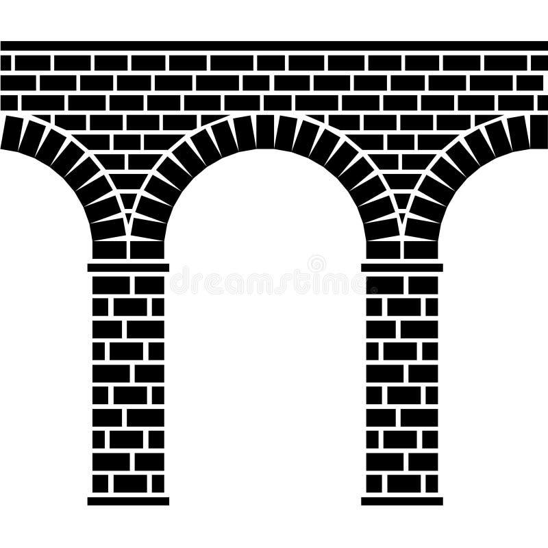 Aquedotto di pietra senza giunte antico del viadotto del ponticello illustrazione di stock
