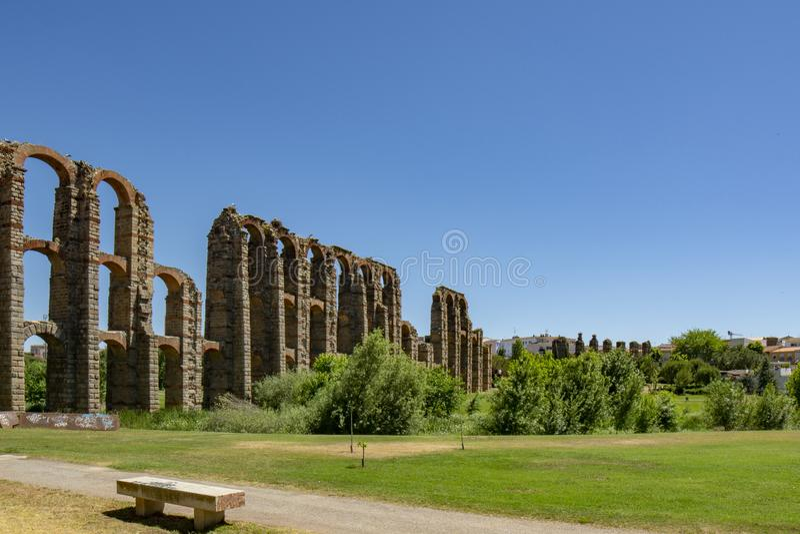 Aquedotto romano di fama mondiale di Merida, Spagna fotografia stock