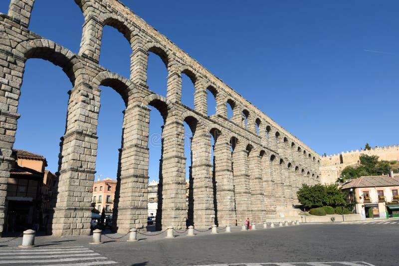 Aquedotto romano di Segovia, Castiglia-Leon immagini stock libere da diritti