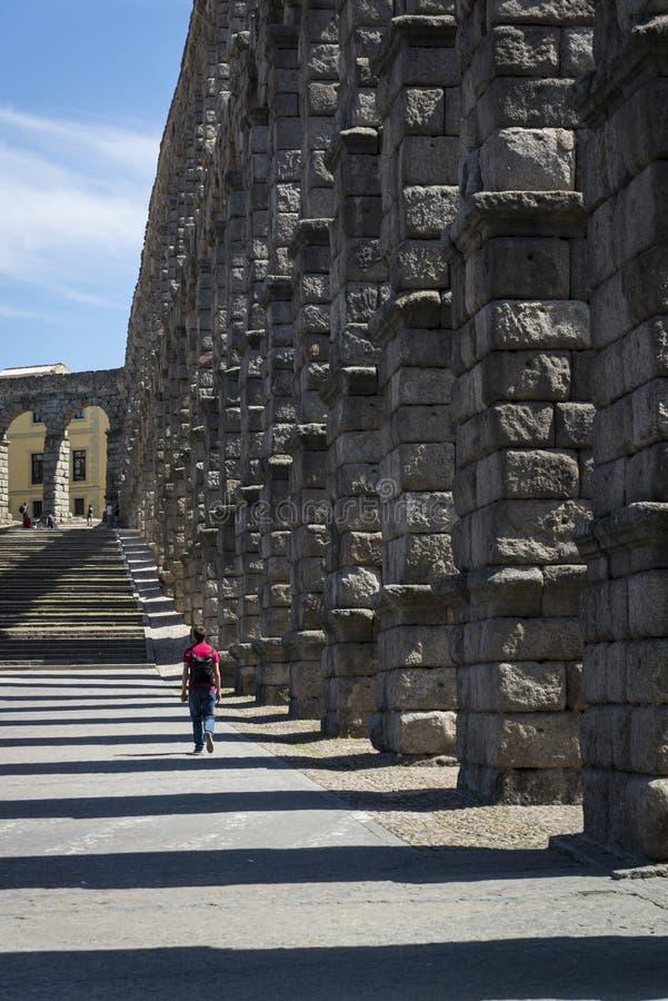 Aquedotto romano, Segovia, Castiglia y Leon, Spagna immagine stock libera da diritti