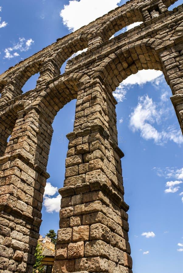Aquedotto a Segovia, Castiglia y Leon, Spagna. immagini stock libere da diritti