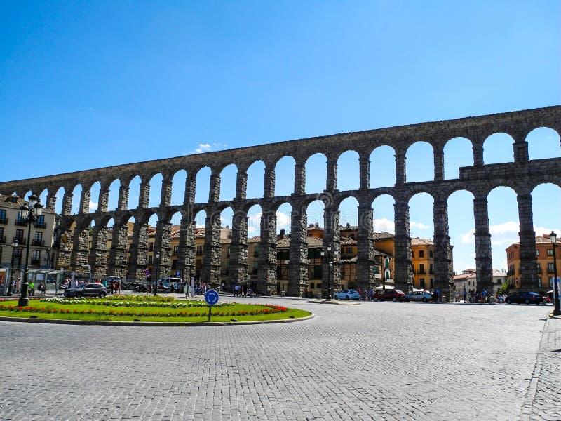 Aquedotto a Segovia, Spagna Costruzione antica romana immagine stock