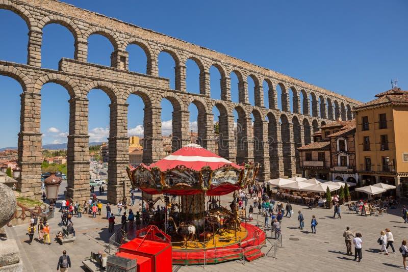 Aqueduc romain de Ségovie images libres de droits