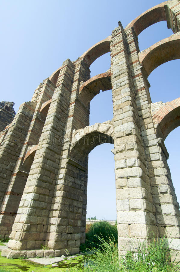 Aqueduct. Miracles aqueduct in Merida, Spain royalty free stock photography