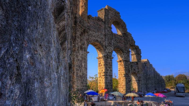 Aqueduct of Aspendos stock photo