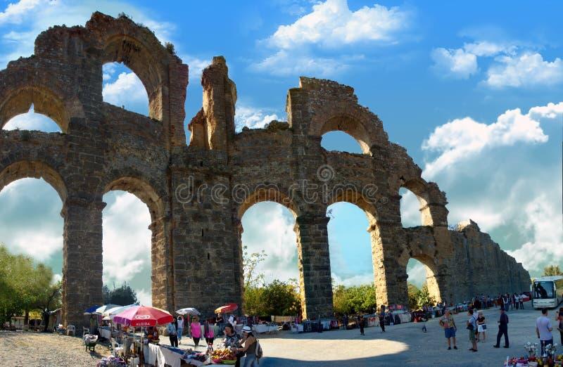 Aqueduct of Aspendos royalty free stock image