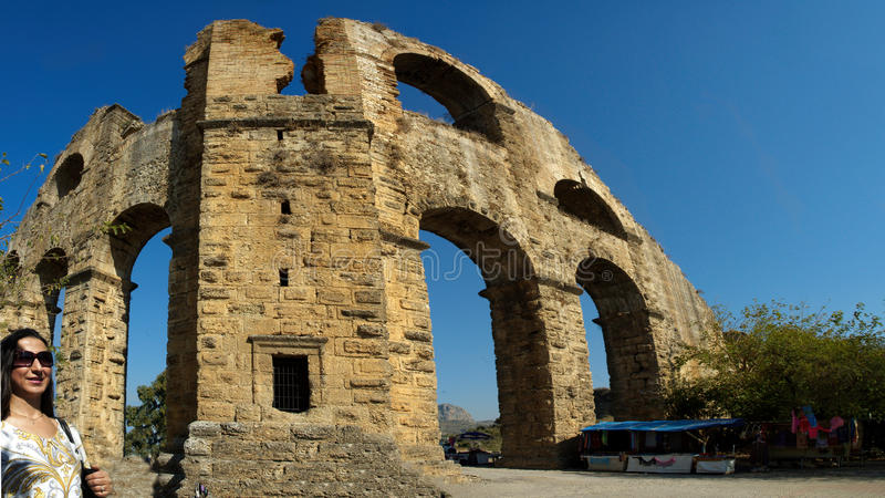 Aqueduct of Aspendos stock photography