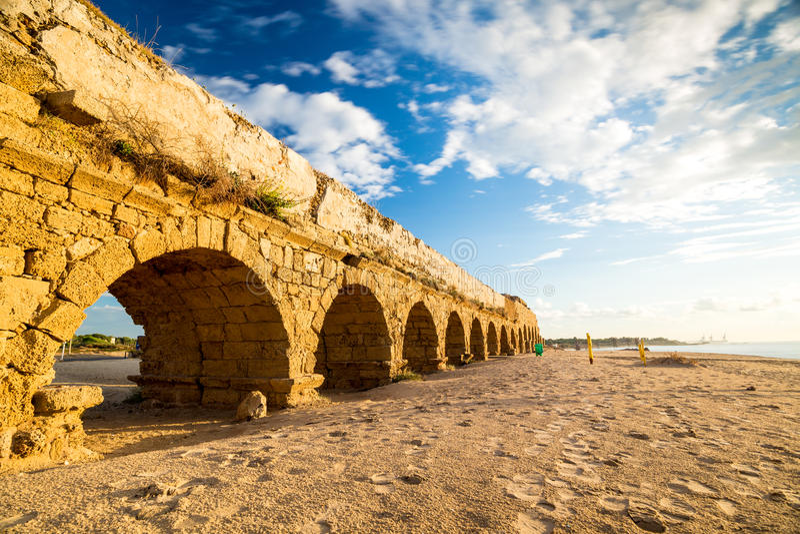 Aqueduct in Cesarea, Israel stock photo