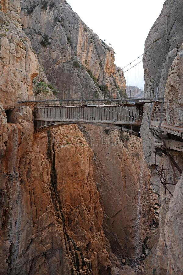 Aqueduct at Gaitanes canyon of Caminito del Rey in Andalusia, Spain. The Caminito del Rey i or King`s little footpath s a cliff-side path hanging 100m above the royalty free stock photo