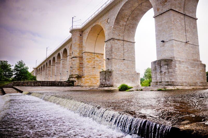 Aqueduct-like railway bridge in Poland. Monumental railway bridge in the form of ancient aqueduct over Bobr river in Boleslawiec, Poland stock image