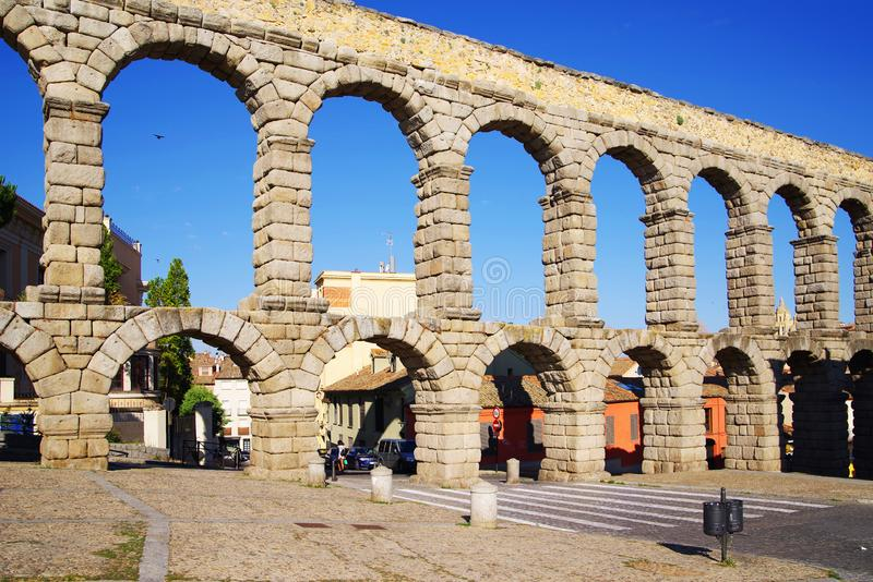 The Roman aqueduct of Segovia - the most important architectural landmark of Segovia. The Aqueduct of Segovia or more accurately, the aqueduct bridge is a Roman stock photography