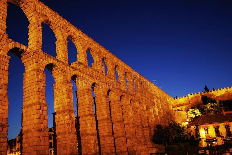 The Roman aqueduct of Segovia - the most important architectural landmark of Segovia. The Aqueduct of Segovia or more accurately, the aqueduct bridge is a Roman royalty free stock photo
