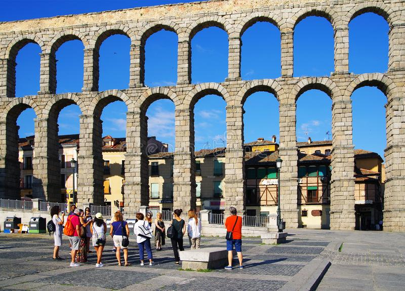 SEGOVIA, SPAIN - JULY 24, 2018: The Roman aqueduct of Segovia - the most important architectural landmark of Segovia. The Aqueduct of Segovia or more accurately royalty free stock photo
