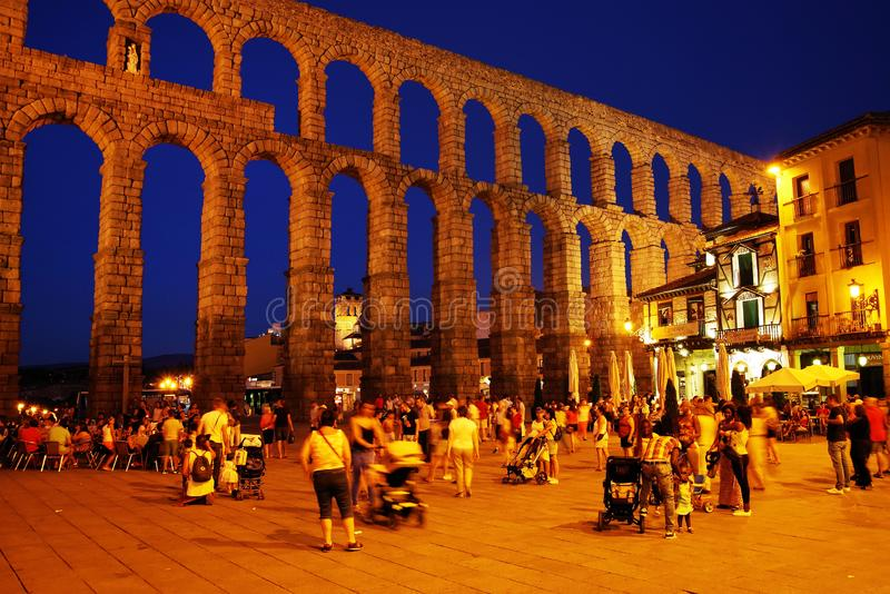 SEGOVIA, SPAIN - JULY 24, 2018: The Roman aqueduct of Segovia - the most important architectural landmark of Segovia. The Aqueduct of Segovia or more accurately royalty free stock photography