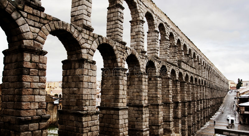 Aqueduct in Segovia, Spain royalty free stock photo