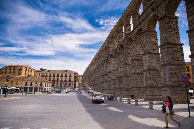 Aqueduct. Segovia, Spain. devil's claw on the stone. royalty free stock photos