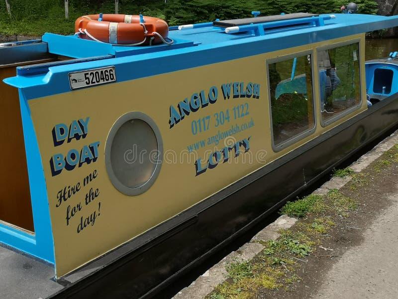 Aqueduto Anglo do barco do dia do canal de Galês fotos de stock royalty free