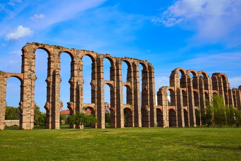 Aqueduto de Acueducto Los Milagros Merida Badajoz fotografia de stock