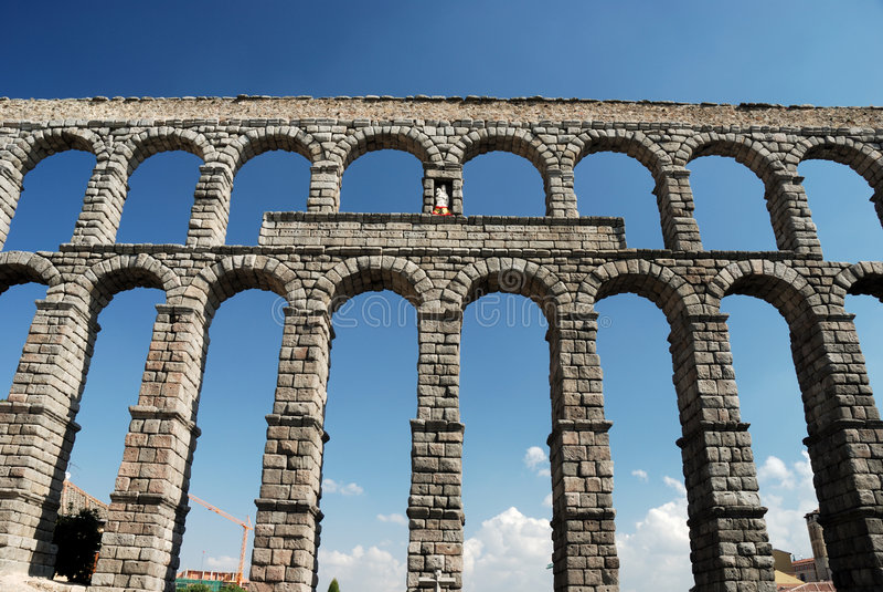 Aqueduto romano em Segovia fotografia de stock