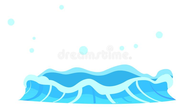 Aqueous Stream with Splashes of Blue Crystal Aqua. Geyser flow of water from under earth isolated on white. Vector illustration of hot spring in flat design royalty free illustration