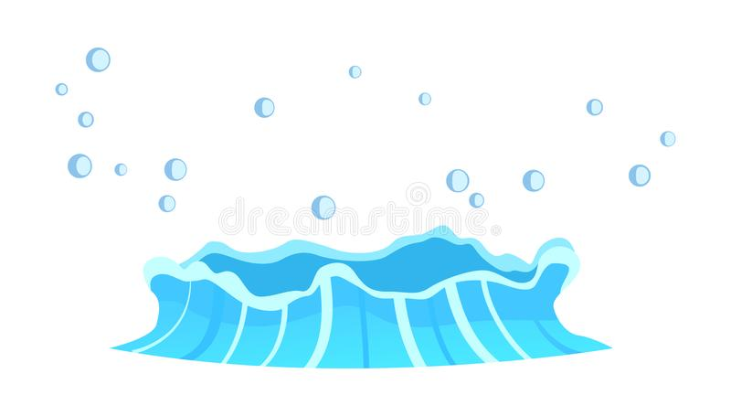 Aqueous Stream with Splashes of Blue Crystal Aqua. Geyser flow of water from under earth isolated on white. Vector illustration of hot spring in flat design stock illustration