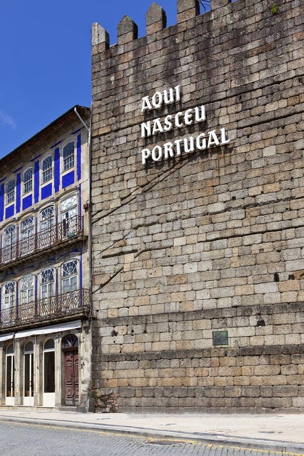Aqui Nasceu葡萄牙-吉马朗伊什 库存图片