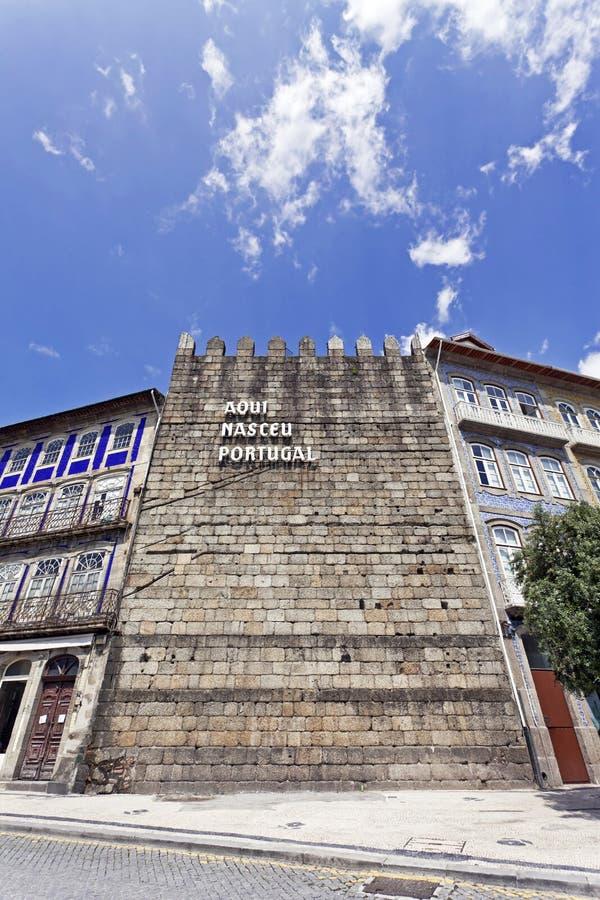 Aqui Nasceu Portugal, Guimaraes, Portugal fotografering för bildbyråer