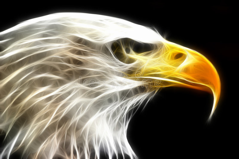 Aquila calva resa con i raggi luminosi elettrici fotografia stock libera da diritti