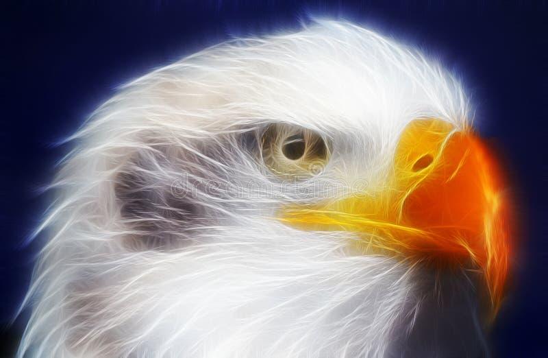 Aquila calva resa con i raggi luminosi elettrici immagine stock