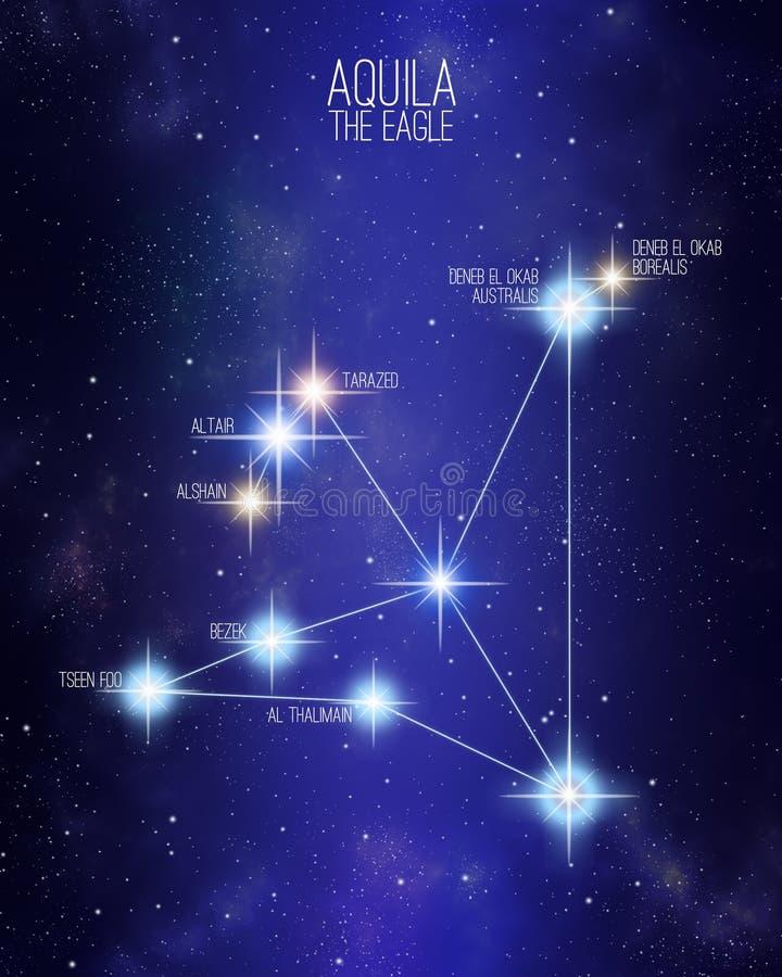 Aquila a constelação da águia em um fundo estrelado do espaço ilustração do vetor
