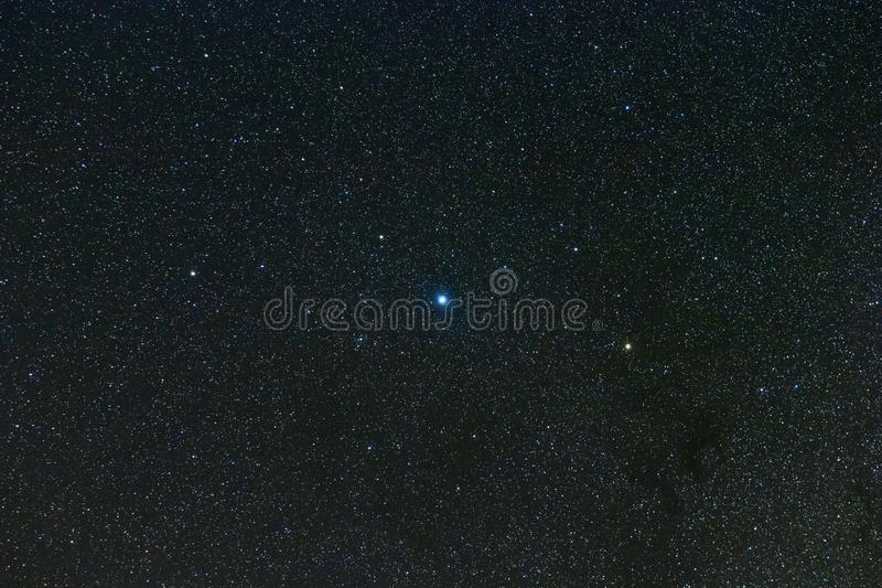Aquila Constellation in Real Nght Sky, Eagle Constellation Starry Sky, Altair, Alshain, Tarazed arkivbild