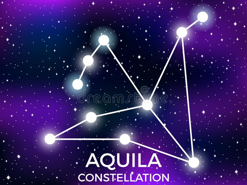Aquila constellation. Starry night sky. Cluster of stars and galaxies. Deep space. Vector. Illustration stock illustration