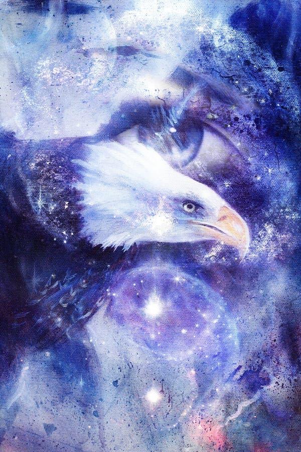 Aquila della pittura con l'occhio della donna su fondo e su Yin Yang Symbol astratti nello spazio con le stelle Ali da volare, li illustrazione vettoriale