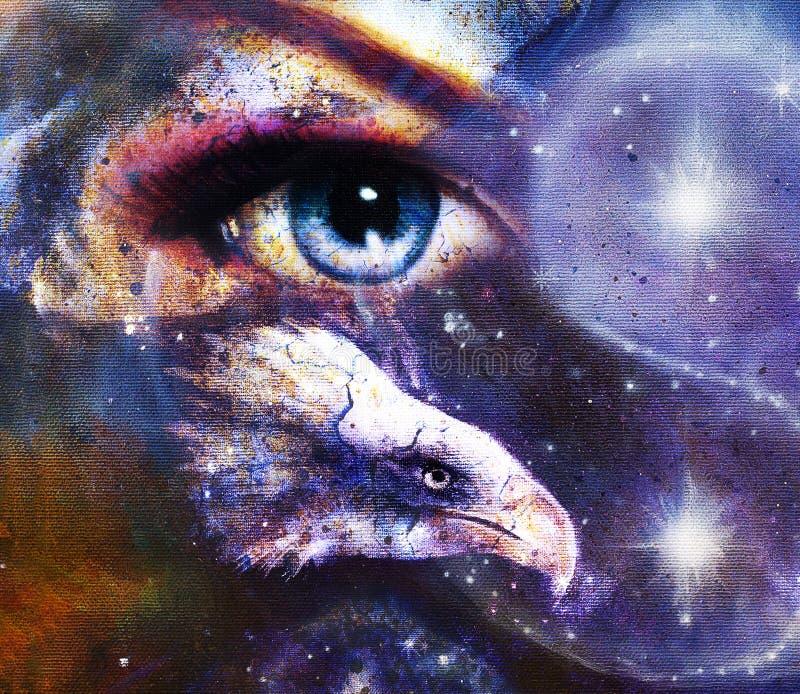 Aquila della pittura con l'occhio della donna su fondo e su Yin Yang Symbol astratti nello spazio con le stelle Ali da volare illustrazione vettoriale
