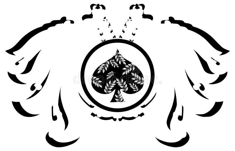 Aquila a due punte stilizzata con le vanghe royalty illustrazione gratis