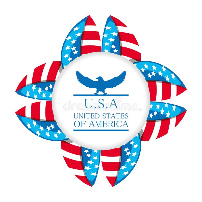 Aquila sveglia con l'emblema americano di simbolo illustrazione di stock
