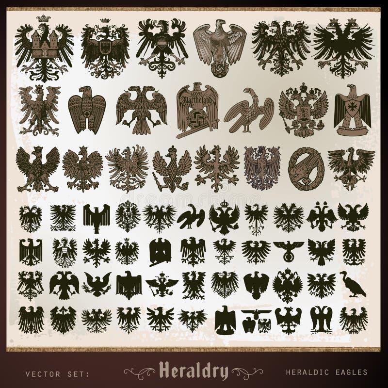 Aquile araldiche degli elementi illustrazione vettoriale