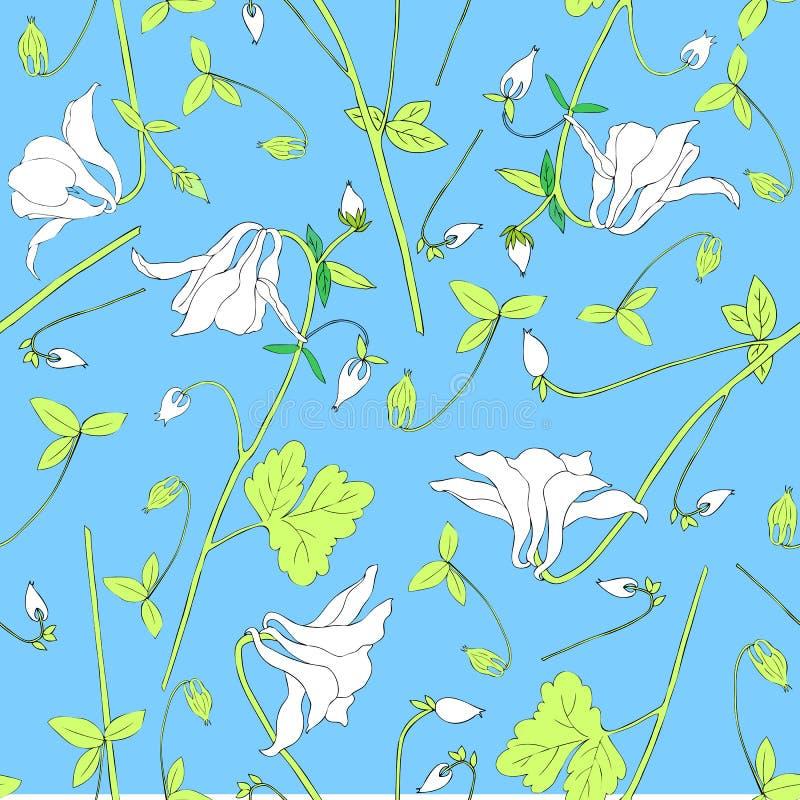 Aquilegia花或在蓝色背景隔绝的哥伦拜恩例证,无缝的花卉传染媒介样式,装饰 库存例证