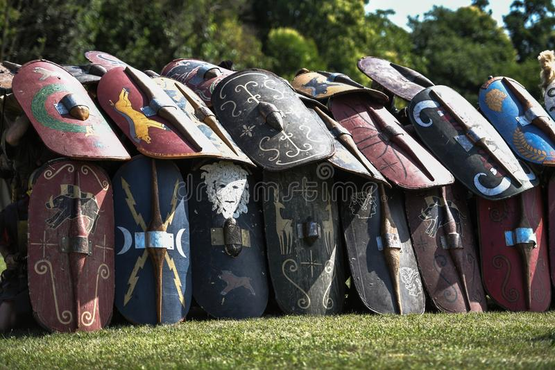 Roman legionaries in testudo defence formation royalty free stock photos