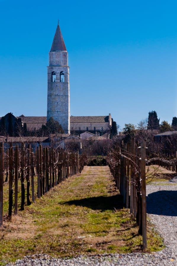 Aquileia klockstapel och wineyards arkivfoton