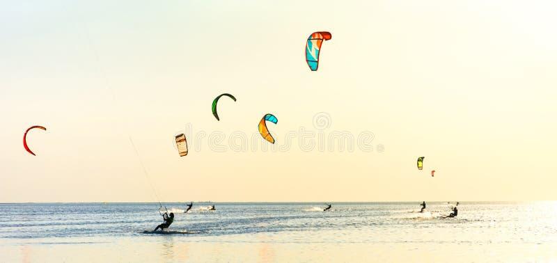 Aquilone-praticando il surfing e molte siluette degli aquiloni nel cielo Feste sulla natura Immagine artistica Carpatico, Ucraina fotografia stock