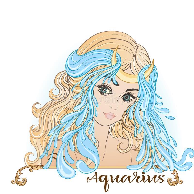 aquinas Ένα νέο όμορφο κορίτσι υπό μορφή ενός από τα σημάδια διανυσματική απεικόνιση