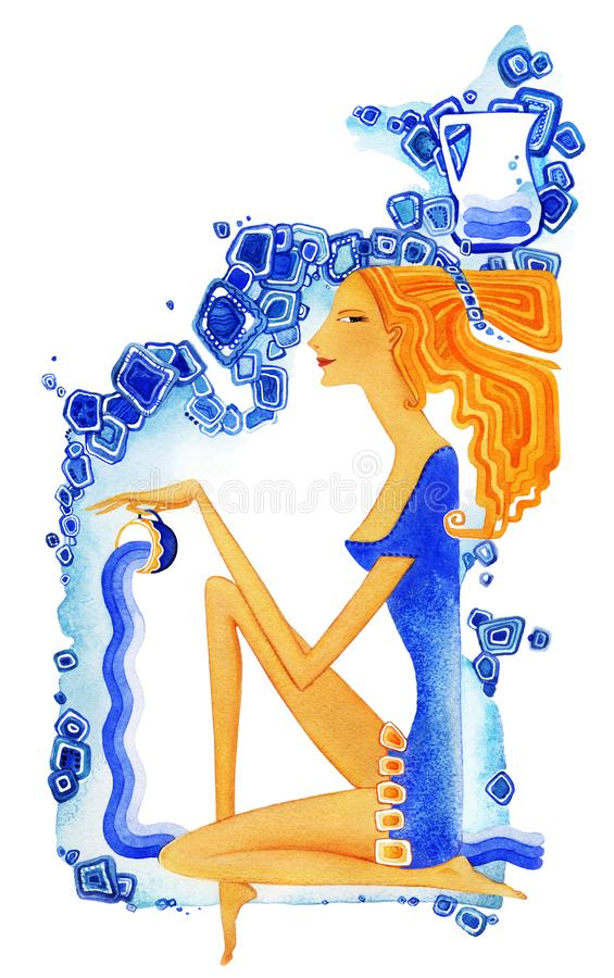 aquinas Η νέα ξυπόλυτη γυναίκα με την κόκκινη τρίχα σε ένα μπλε φόρεμα χύνει το νερό από ένα φλυτζάνι ως σύμβολο του zodiac σημαδ ελεύθερη απεικόνιση δικαιώματος