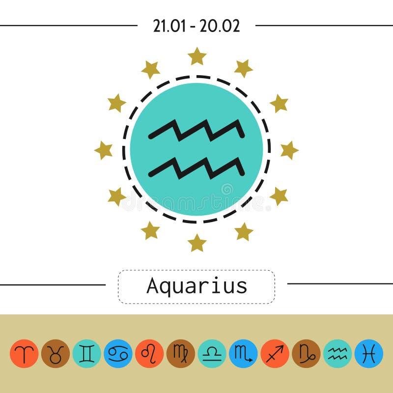 aquinas Σημάδια zodiac, επίπεδα γραμμικά εικονίδια για το ωροσκόπιο, προβλέψεις απεικόνιση αποθεμάτων