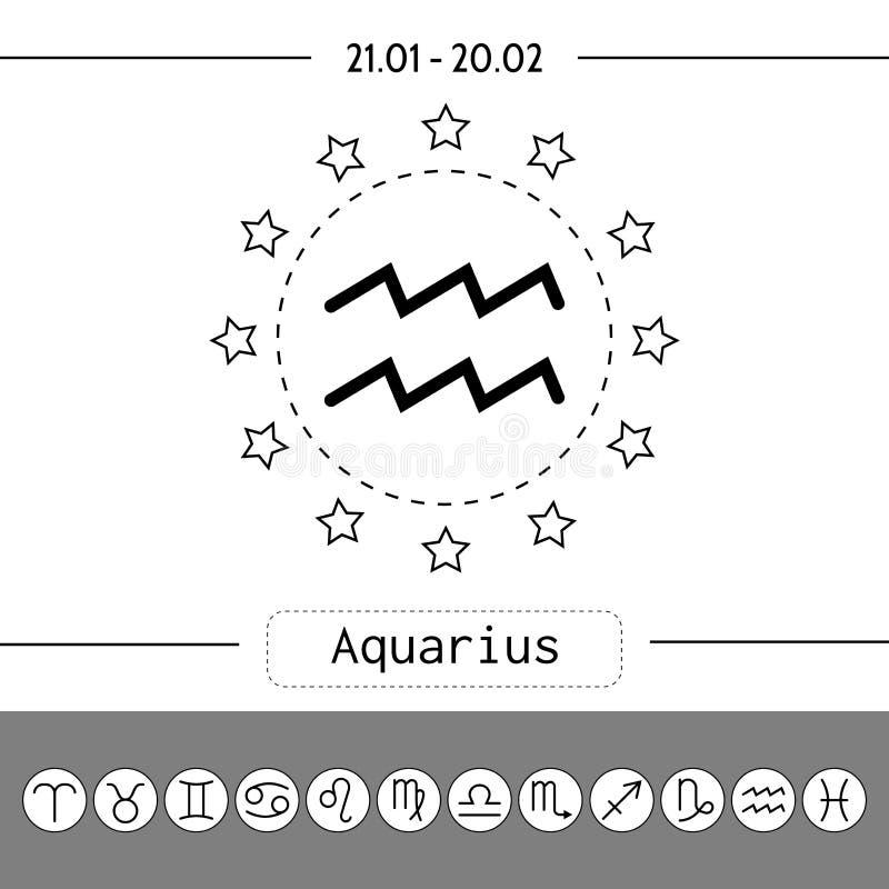 aquinas Σημάδια zodiac, επίπεδα γραμμικά εικονίδια για το ωροσκόπιο, προβλέψεις ελεύθερη απεικόνιση δικαιώματος