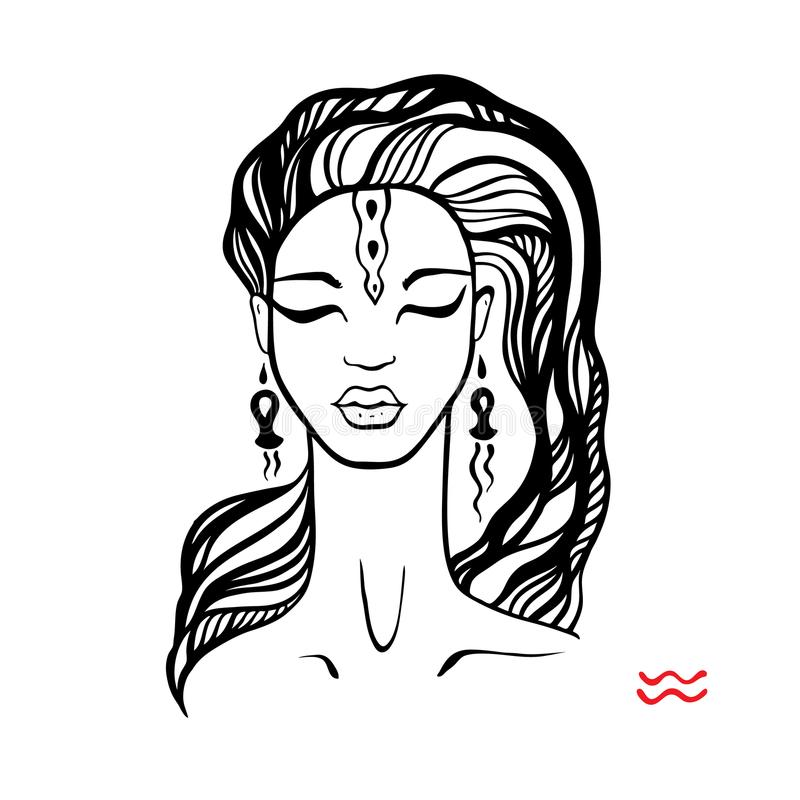 aquinas Zodiac όμορφο κορίτσι μόδας διανυσματική απεικόνιση