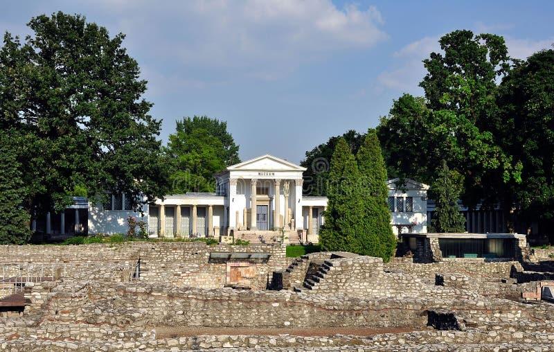 Aquincum Museum in Budapest stockfotos
